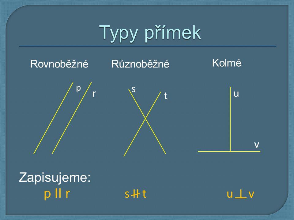 Typy přímek Zapisujeme: p II r s II t u I v s r u t v Rovnoběžné