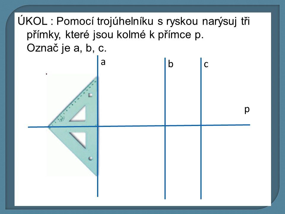 ÚKOL : Pomocí trojúhelníku s ryskou narýsuj tři přímky, které jsou kolmé k přímce p. Označ je a, b, c.