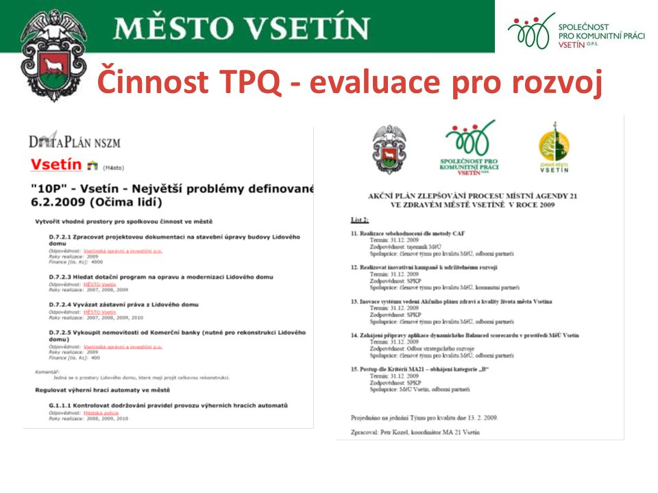 Činnost TPQ - evaluace pro rozvoj