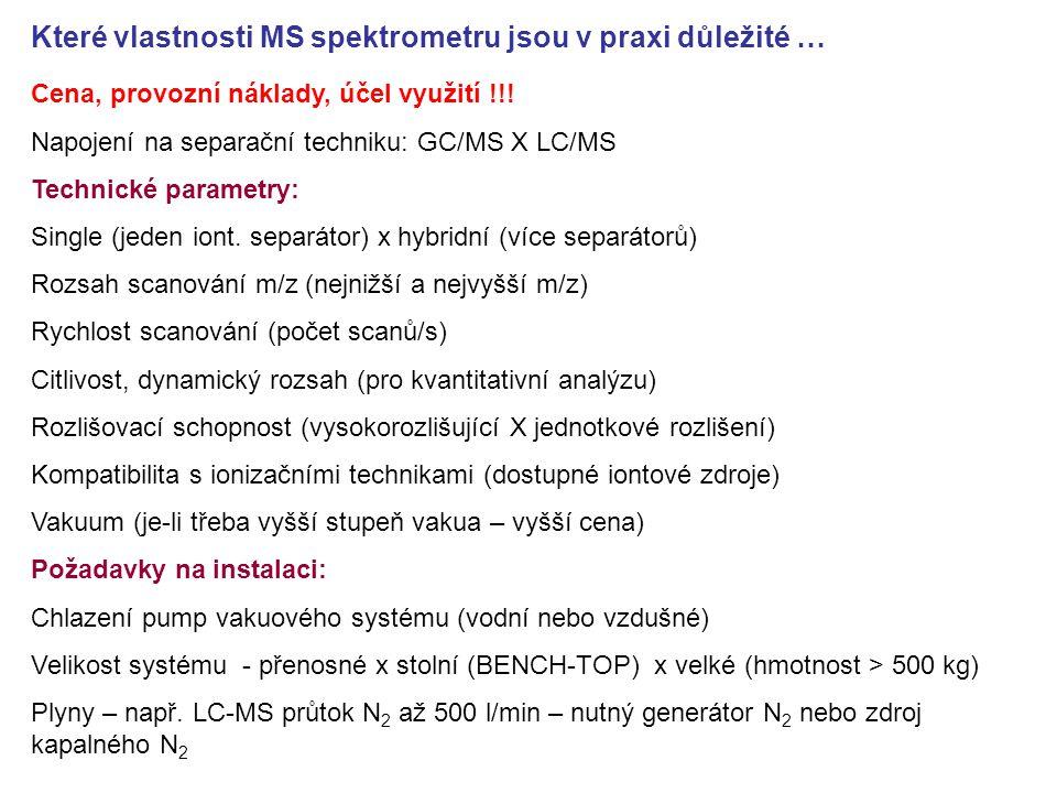 Které vlastnosti MS spektrometru jsou v praxi důležité …