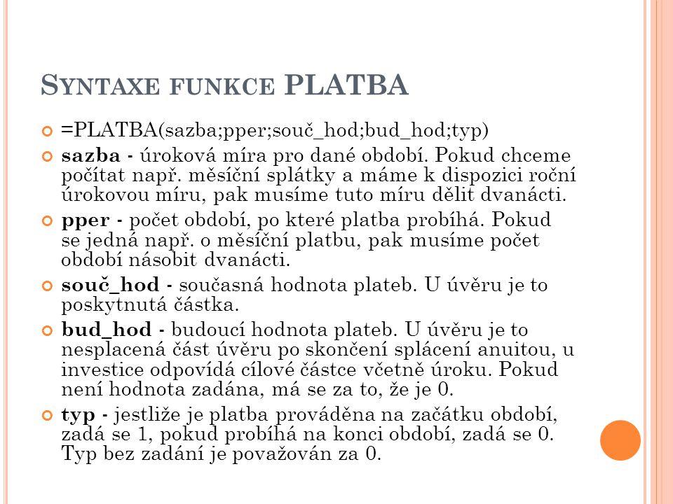 Syntaxe funkce PLATBA =PLATBA(sazba;pper;souč_hod;bud_hod;typ)