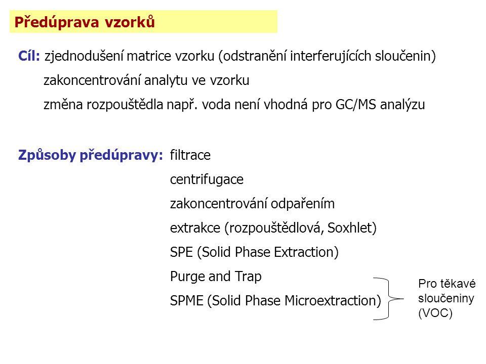 Předúprava vzorků Cíl: zjednodušení matrice vzorku (odstranění interferujících sloučenin) zakoncentrování analytu ve vzorku.