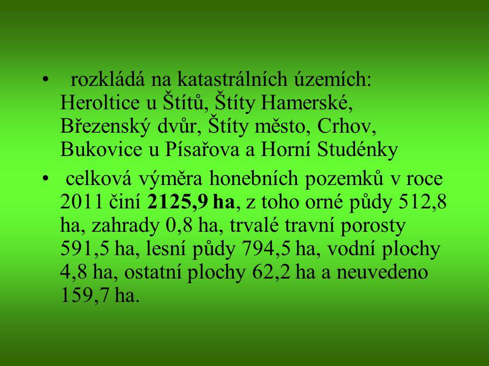 rozkládá na katastrálních územích: Heroltice u Štítů, Štíty Hamerské, Březenský dvůr, Štíty město, Crhov, Bukovice u Písařova a Horní Studénky