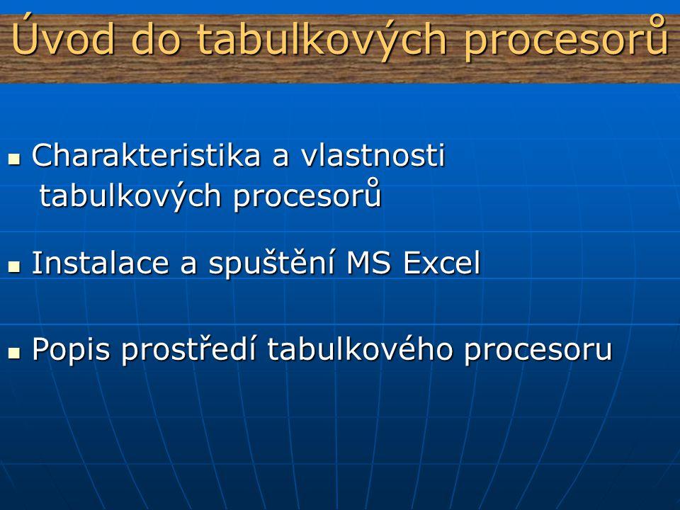 Úvod do tabulkových procesorů
