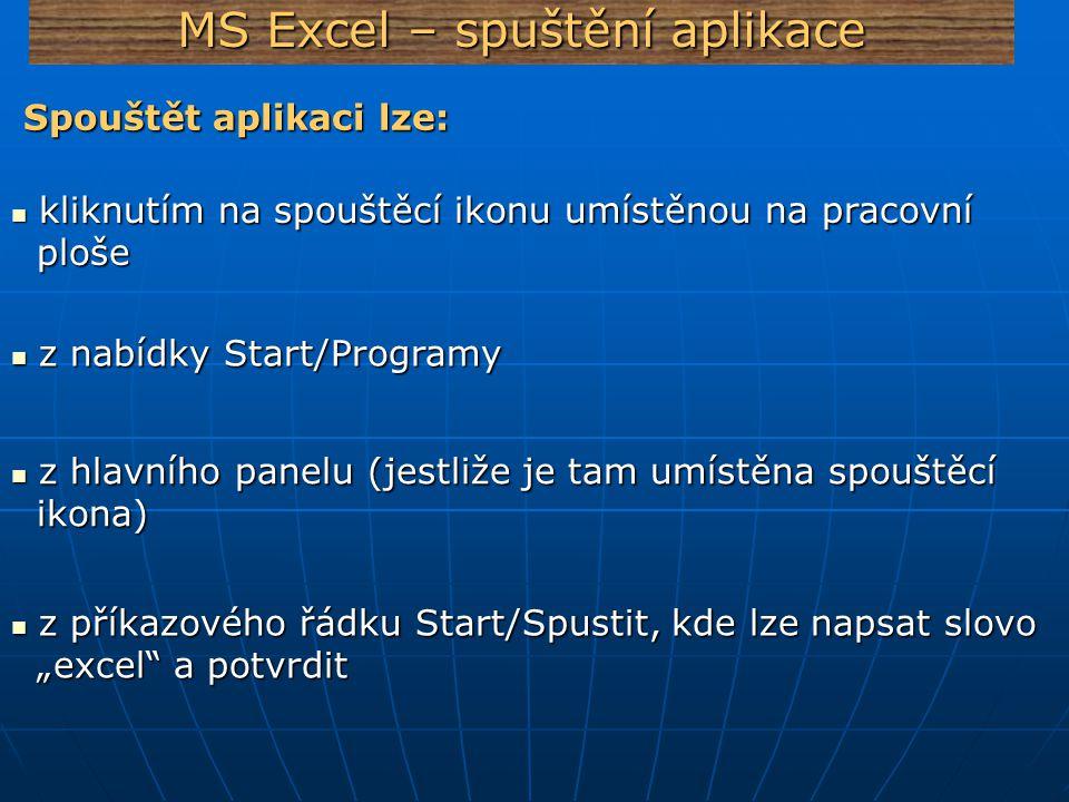 MS Excel – spuštění aplikace