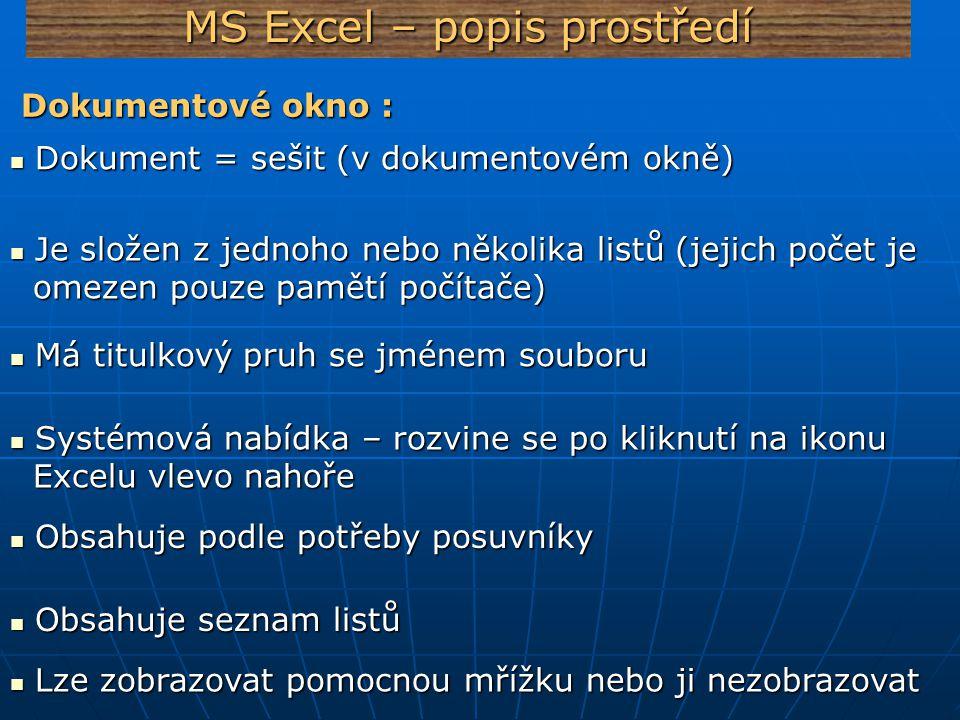 MS Excel – popis prostředí