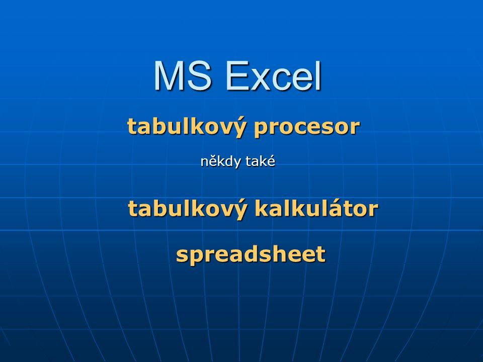 MS Excel tabulkový procesor tabulkový kalkulátor spreadsheet