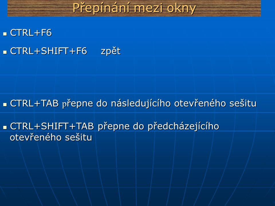 Přepínání mezi okny CTRL+F6 CTRL+SHIFT+F6 zpět
