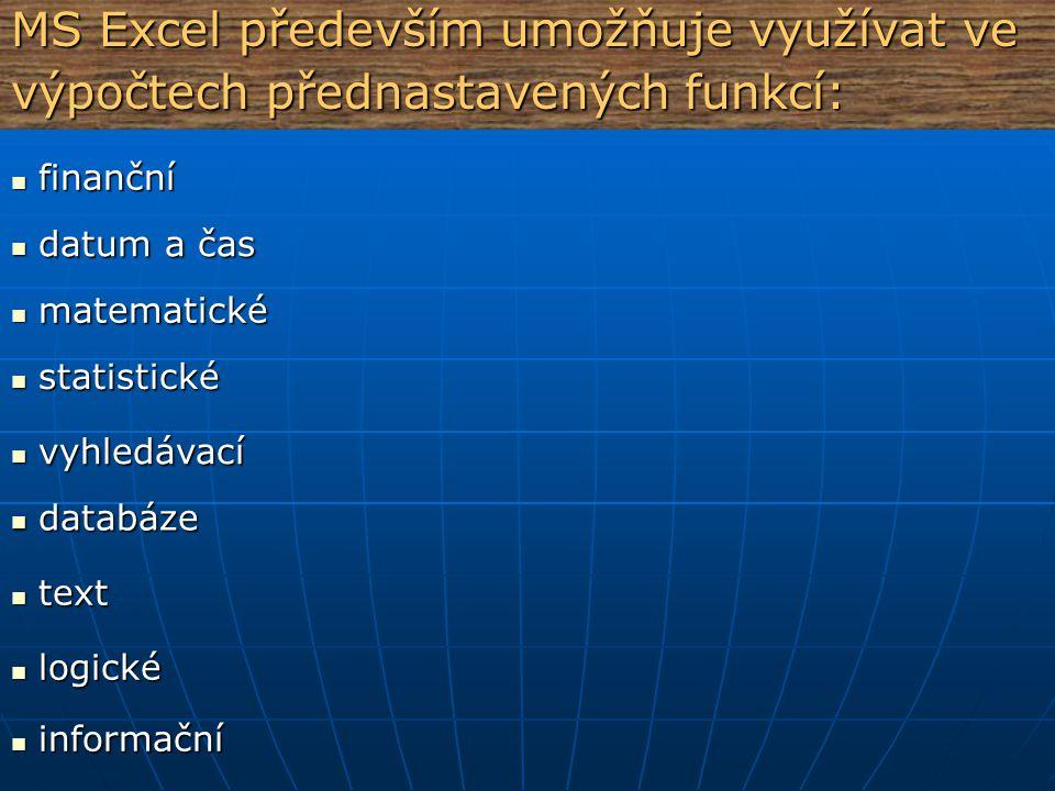 MS Excel především umožňuje využívat ve