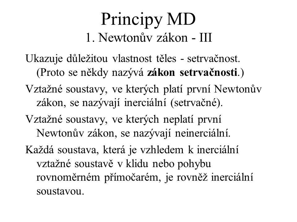 Principy MD 1. Newtonův zákon - III