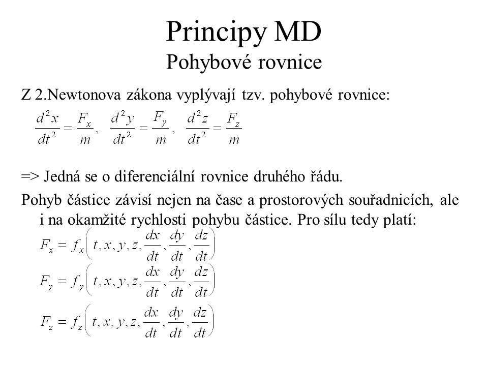 Principy MD Pohybové rovnice