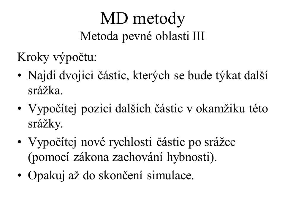 MD metody Metoda pevné oblasti III