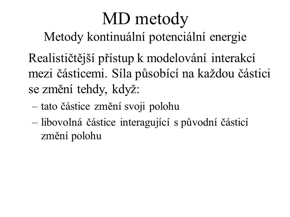 MD metody Metody kontinuální potenciální energie