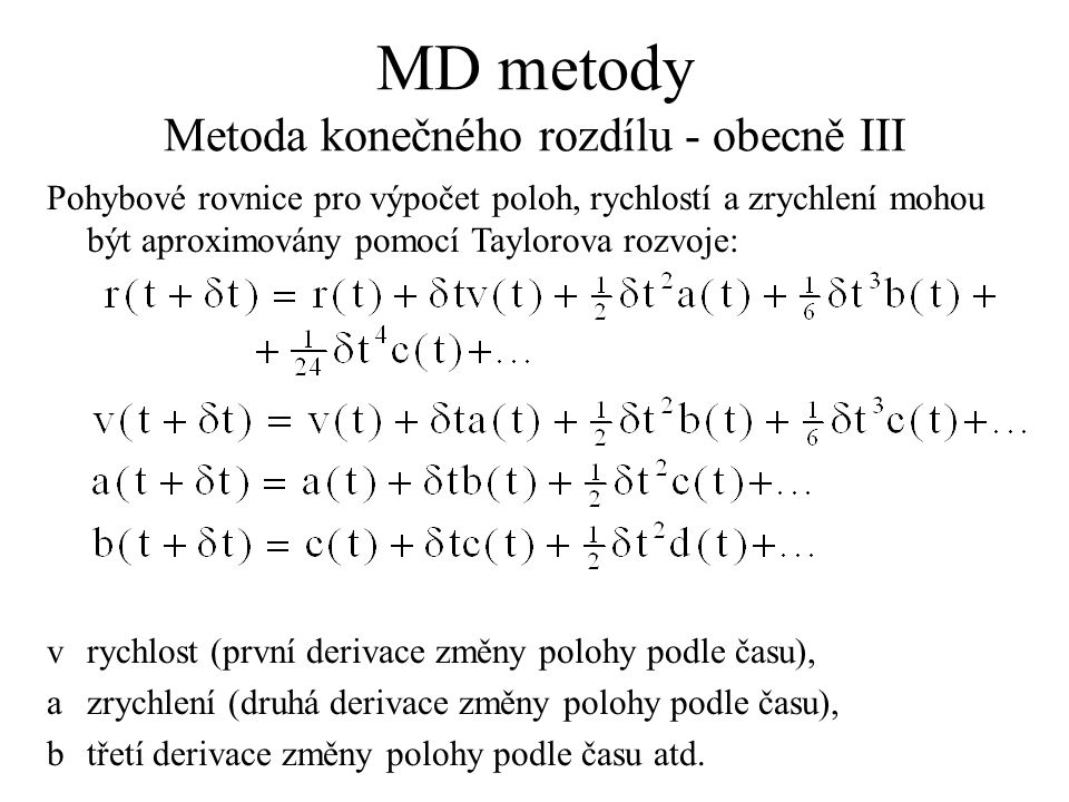 MD metody Metoda konečného rozdílu - obecně III