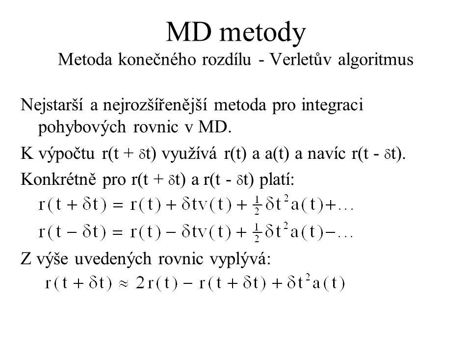 MD metody Metoda konečného rozdílu - Verletův algoritmus