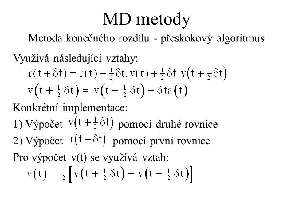 MD metody Metoda konečného rozdílu - přeskokový algoritmus