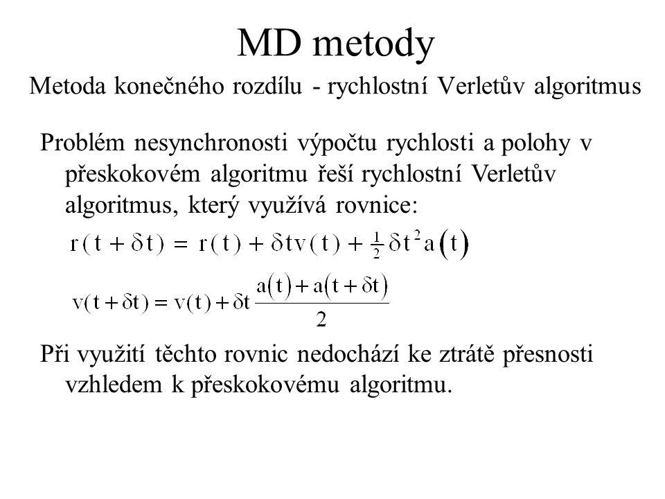 MD metody Metoda konečného rozdílu - rychlostní Verletův algoritmus