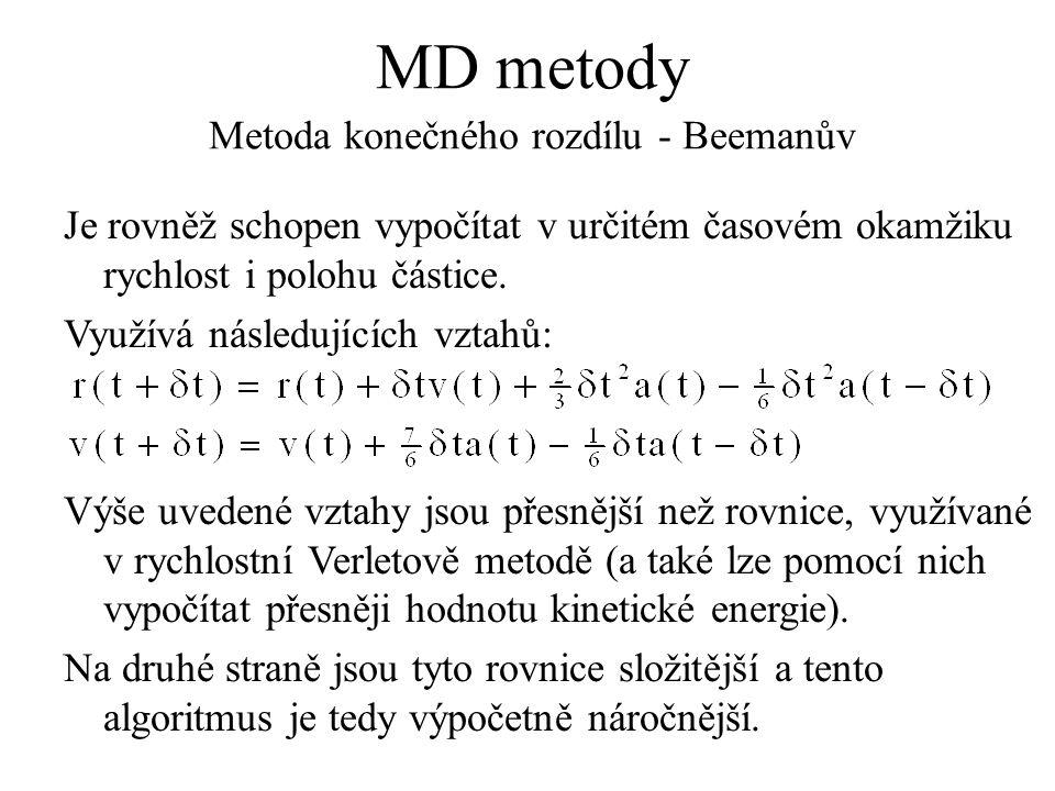 MD metody Metoda konečného rozdílu - Beemanův