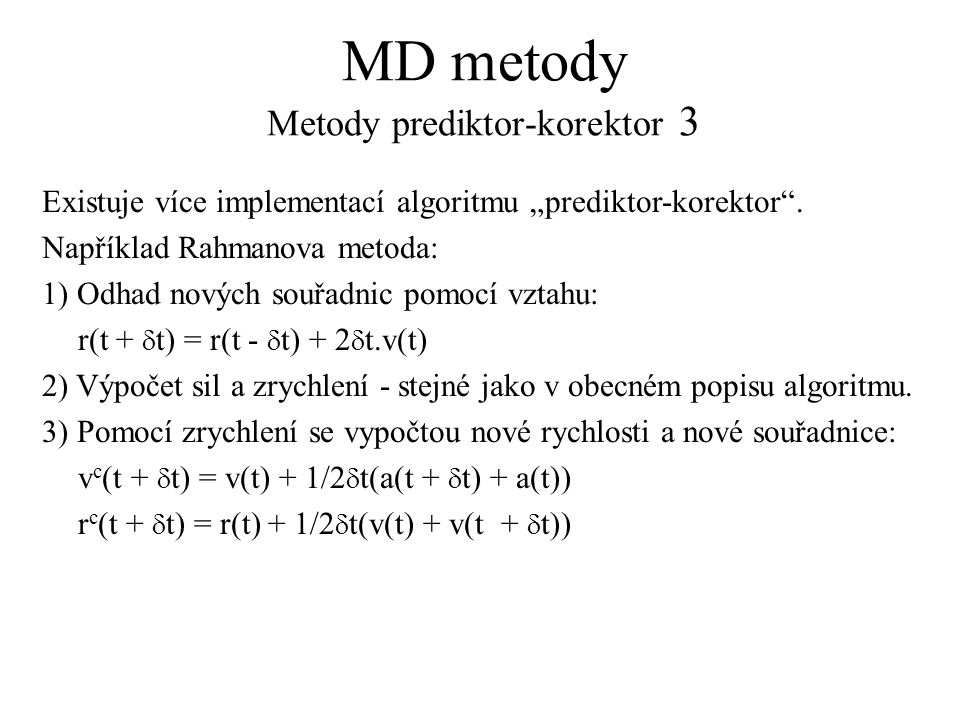 MD metody Metody prediktor-korektor 3