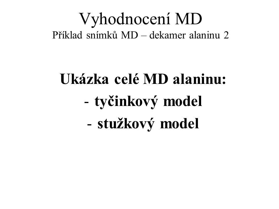 Vyhodnocení MD Příklad snímků MD – dekamer alaninu 2