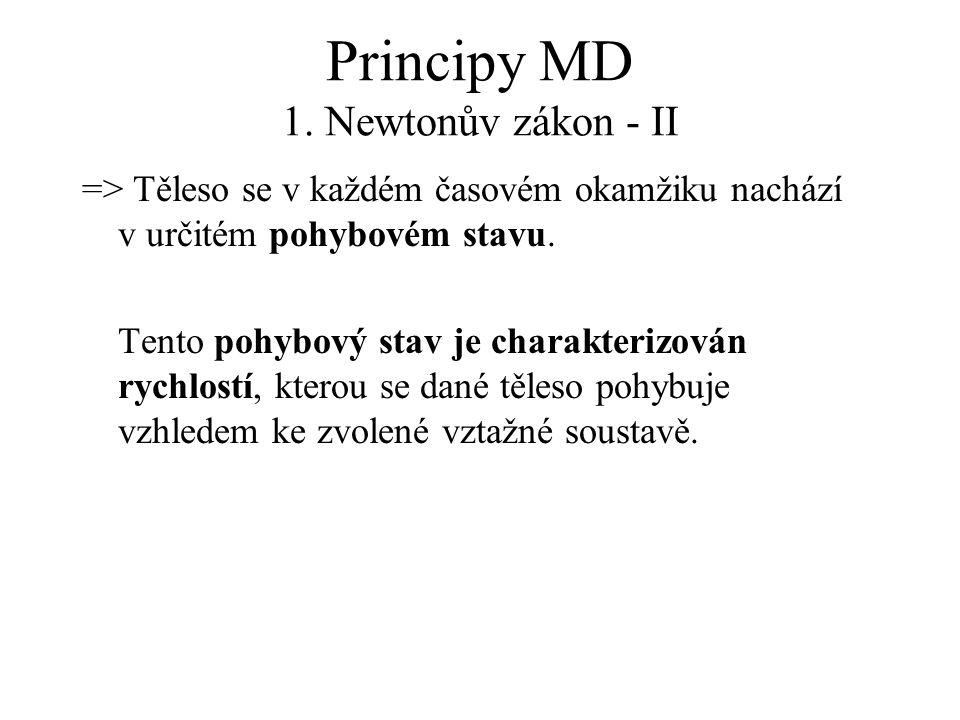 Principy MD 1. Newtonův zákon - II