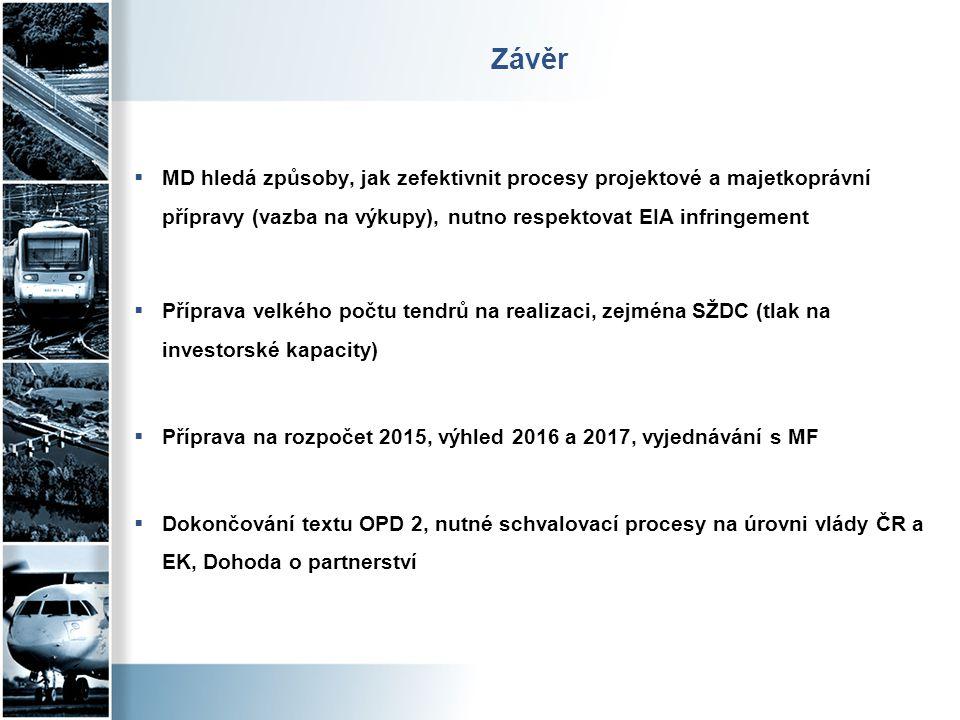 Závěr MD hledá způsoby, jak zefektivnit procesy projektové a majetkoprávní přípravy (vazba na výkupy), nutno respektovat EIA infringement.