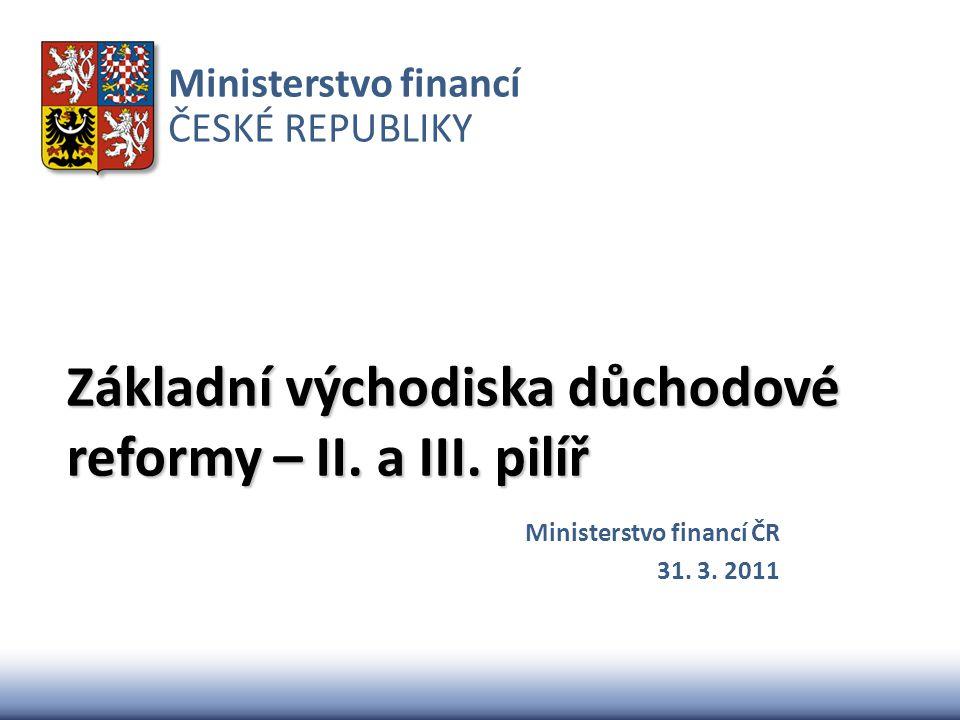 Základní východiska důchodové reformy – II. a III. pilíř