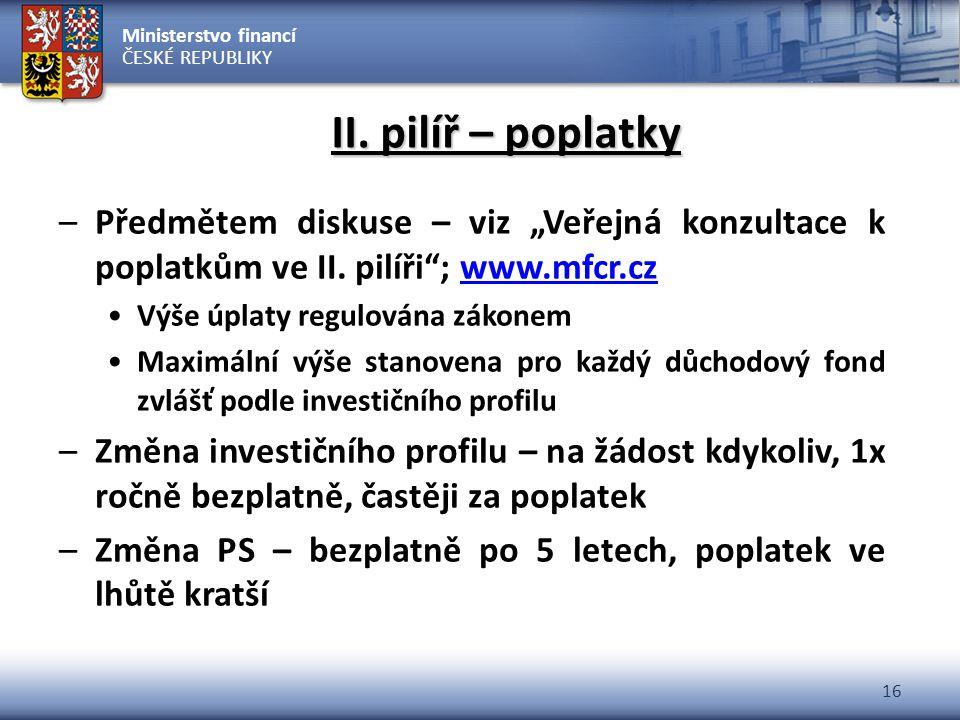 """II. pilíř – poplatky Předmětem diskuse – viz """"Veřejná konzultace k poplatkům ve II. pilíři ; www.mfcr.cz."""