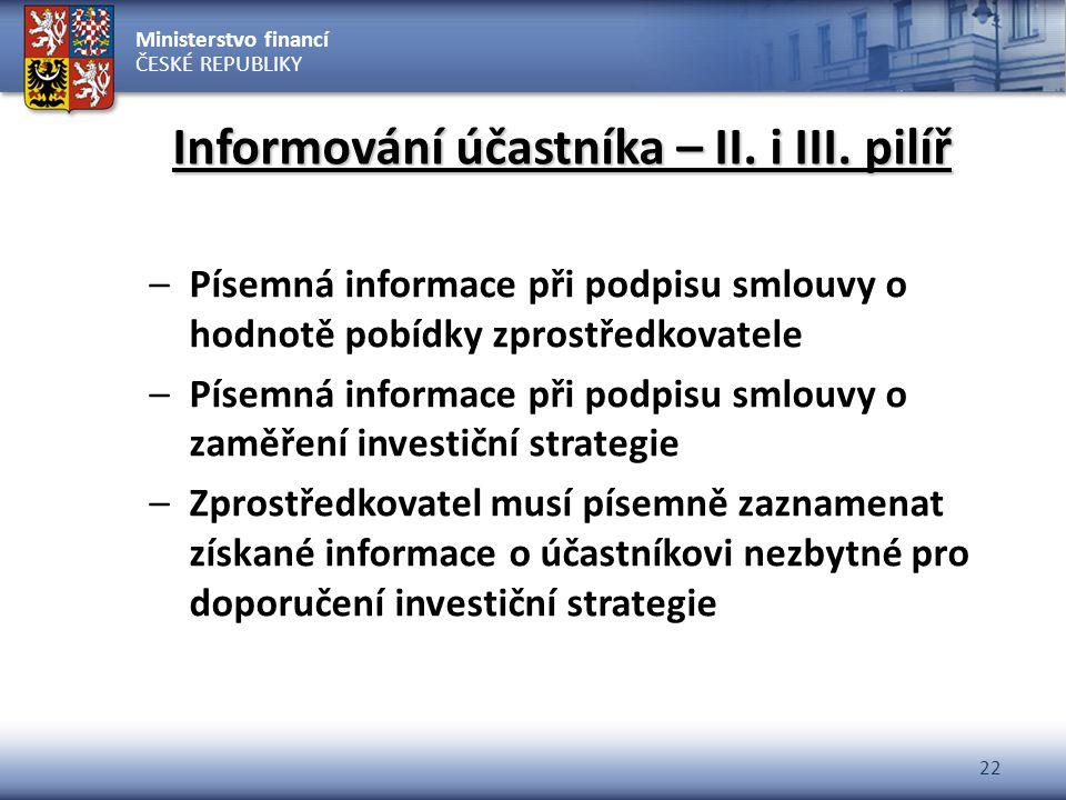 Informování účastníka – II. i III. pilíř