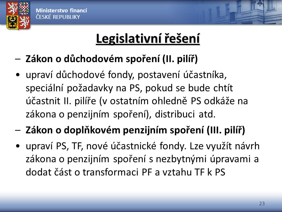 Legislativní řešení Zákon o důchodovém spoření (II. pilíř)