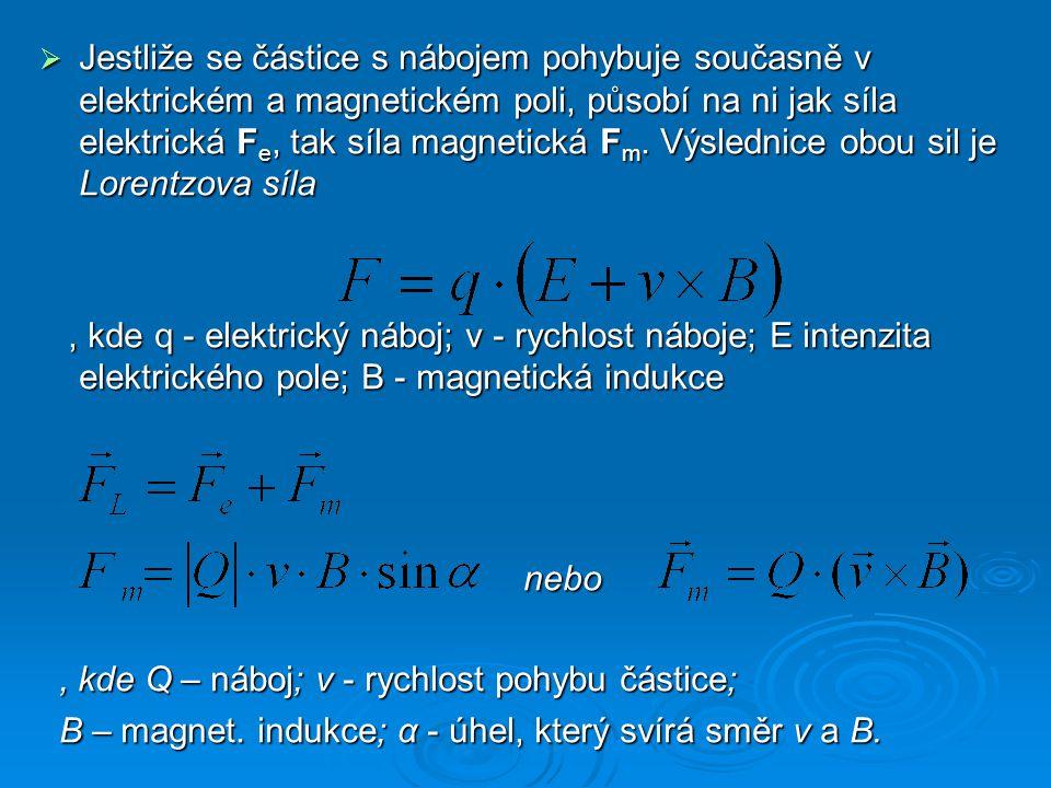 Jestliže se částice s nábojem pohybuje současně v elektrickém a magnetickém poli, působí na ni jak síla elektrická Fe, tak síla magnetická Fm. Výslednice obou sil je Lorentzova síla