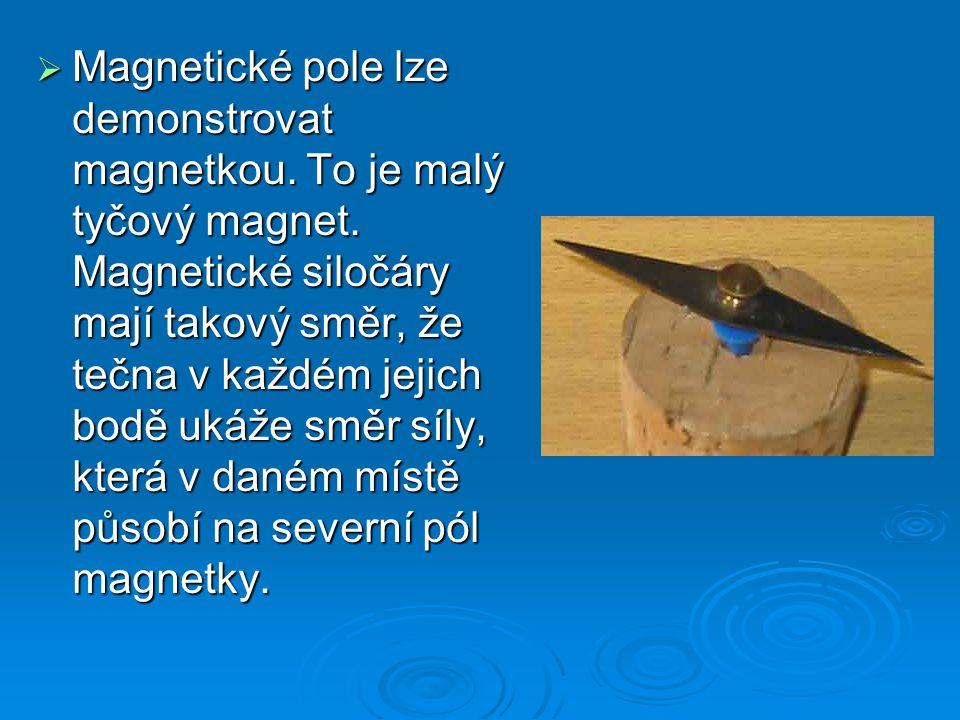 Magnetické pole lze demonstrovat magnetkou. To je malý tyčový magnet