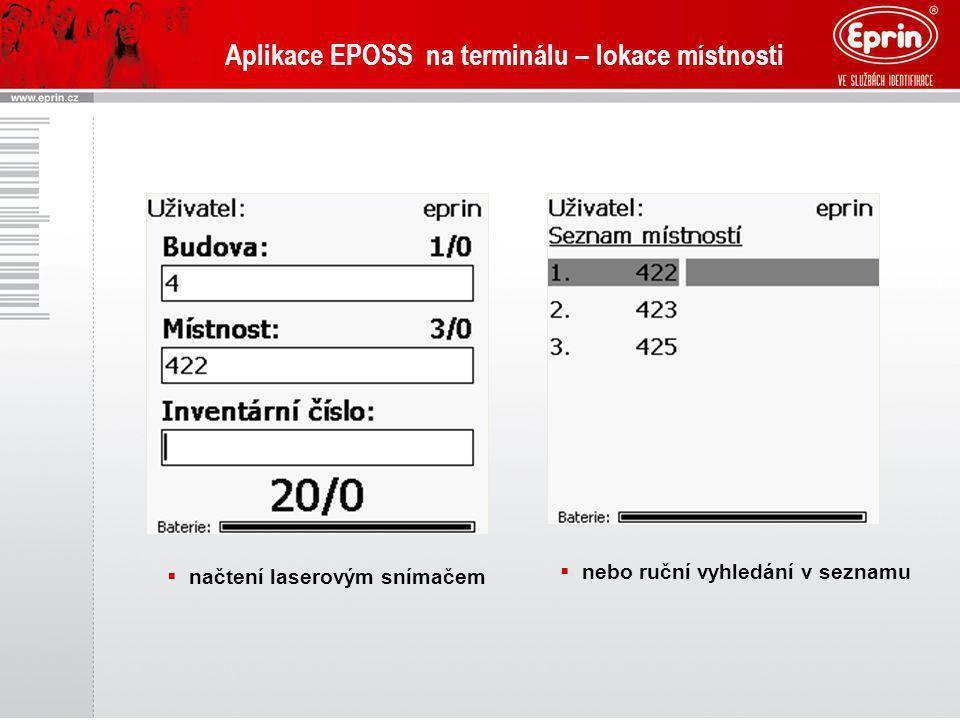 Aplikace EPOSS na terminálu – lokace místnosti