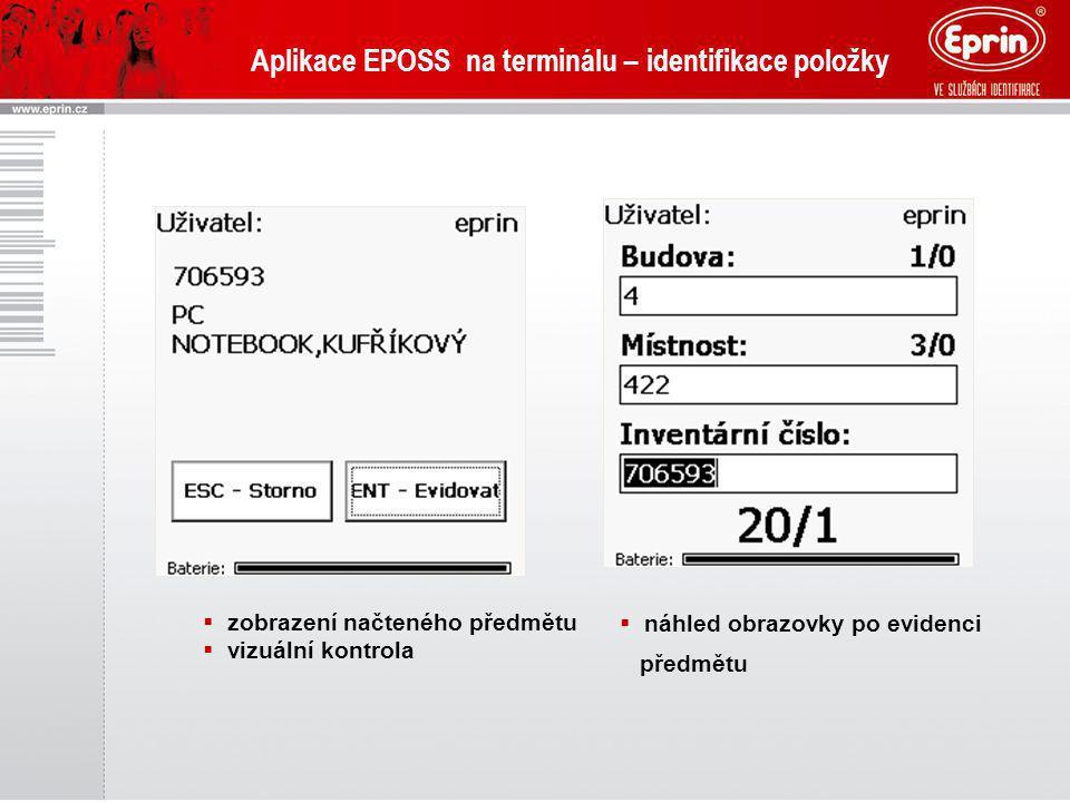 Aplikace EPOSS na terminálu – identifikace položky