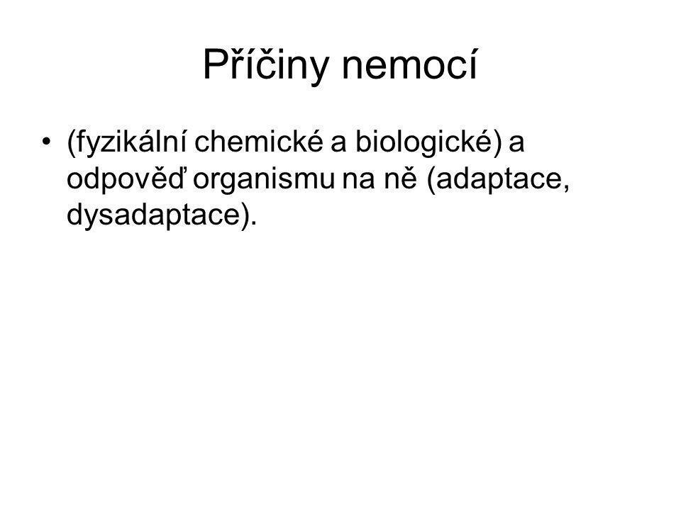 Příčiny nemocí (fyzikální chemické a biologické) a odpověď organismu na ně (adaptace, dysadaptace).