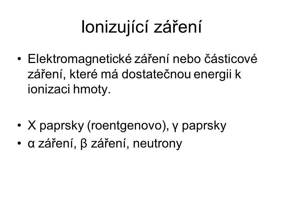 Ionizující záření Elektromagnetické záření nebo částicové záření, které má dostatečnou energii k ionizaci hmoty.