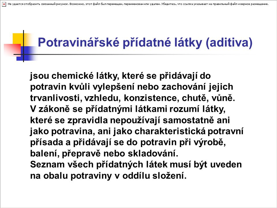 Potravinářské přídatné látky (aditiva)