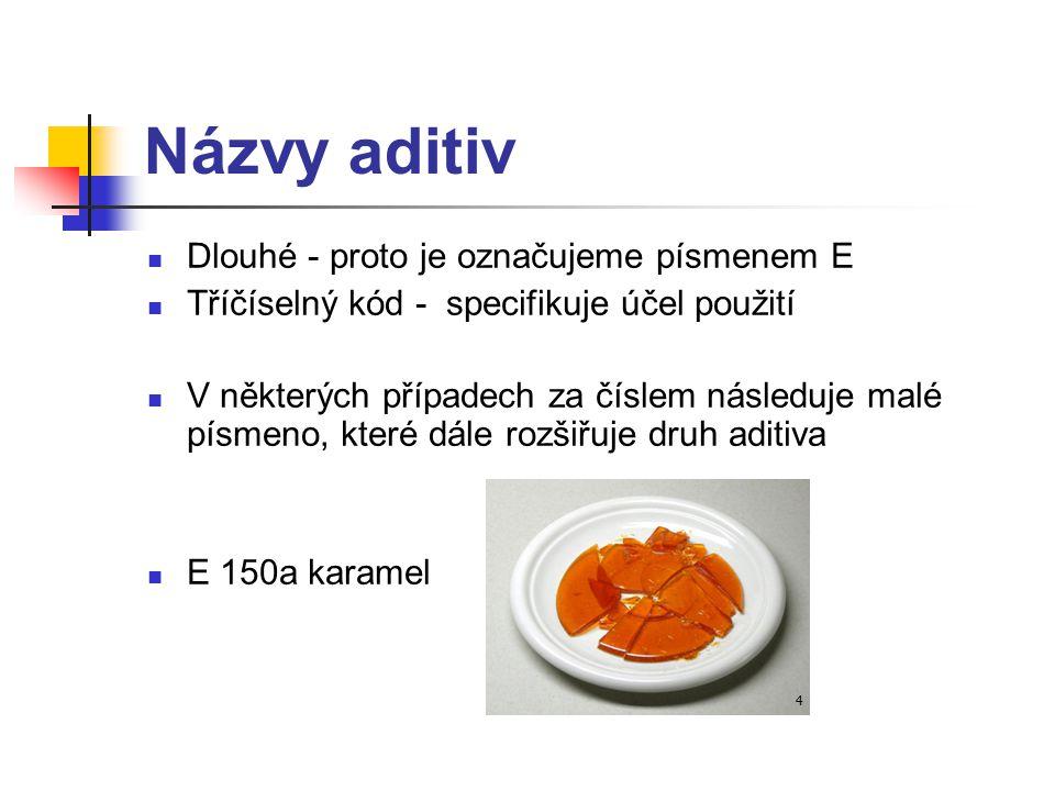 Názvy aditiv Dlouhé - proto je označujeme písmenem E