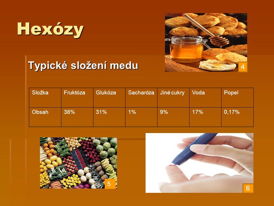 Hexózy Typické složení medu 4 6 5 Složka Fruktóza Glukóza Sacharóza