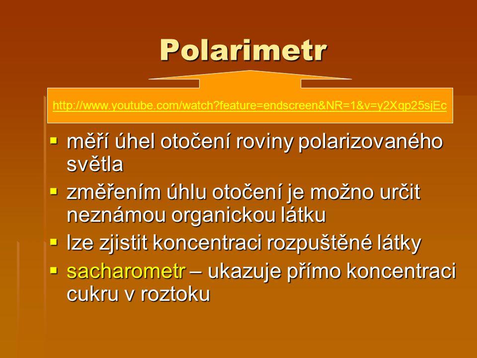 Polarimetr měří úhel otočení roviny polarizovaného světla