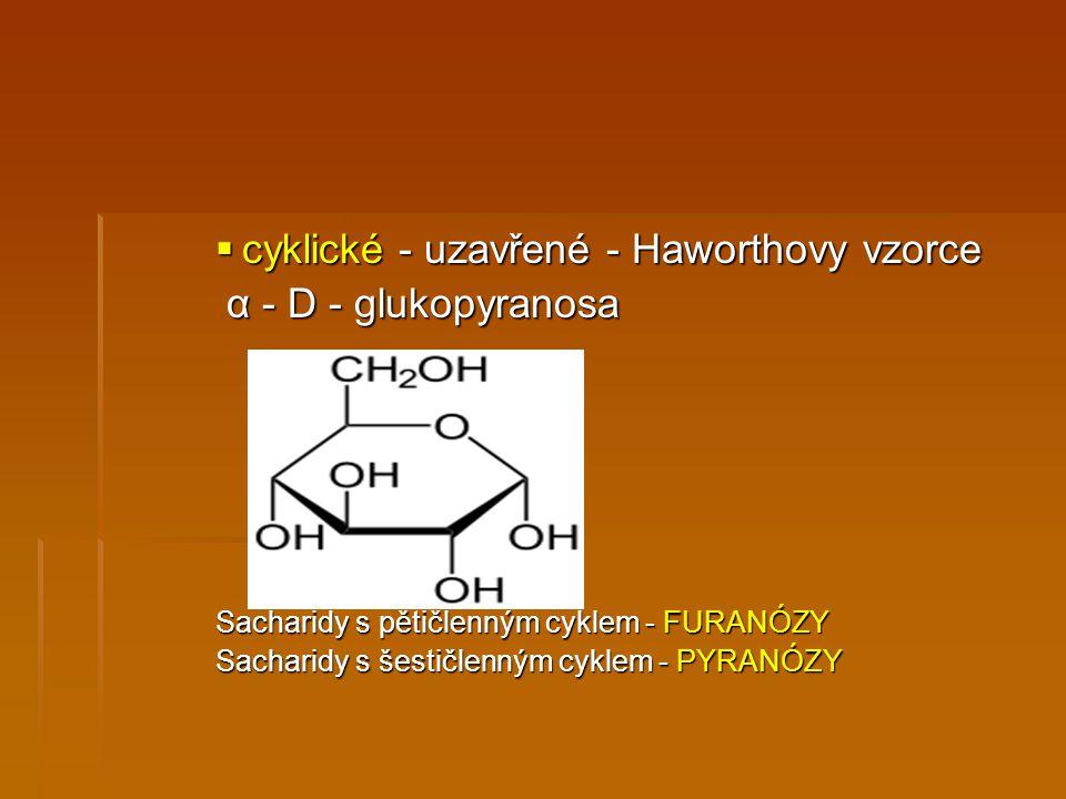 cyklické - uzavřené - Haworthovy vzorce α - D - glukopyranosa