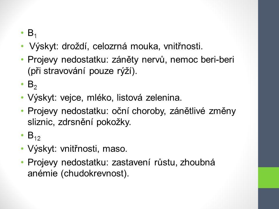 B1 Výskyt: droždí, celozrná mouka, vnitřnosti. Projevy nedostatku: záněty nervů, nemoc beri-beri (při stravování pouze rýží).