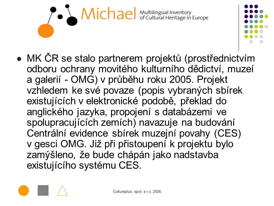 MK ČR se stalo partnerem projektů (prostřednictvím odboru ochrany movitého kulturního dědictví, muzeí a galerií - OMG) v průběhu roku 2005. Projekt vzhledem ke své povaze (popis vybraných sbírek existujících v elektronické podobě, překlad do anglického jazyka, propojení s databázemi ve spolupracujících zemích) navazuje na budování Centrální evidence sbírek muzejní povahy (CES) v gesci OMG. Již při přistoupení k projektu bylo zamýšleno, že bude chápán jako nadstavba existujícího systému CES.