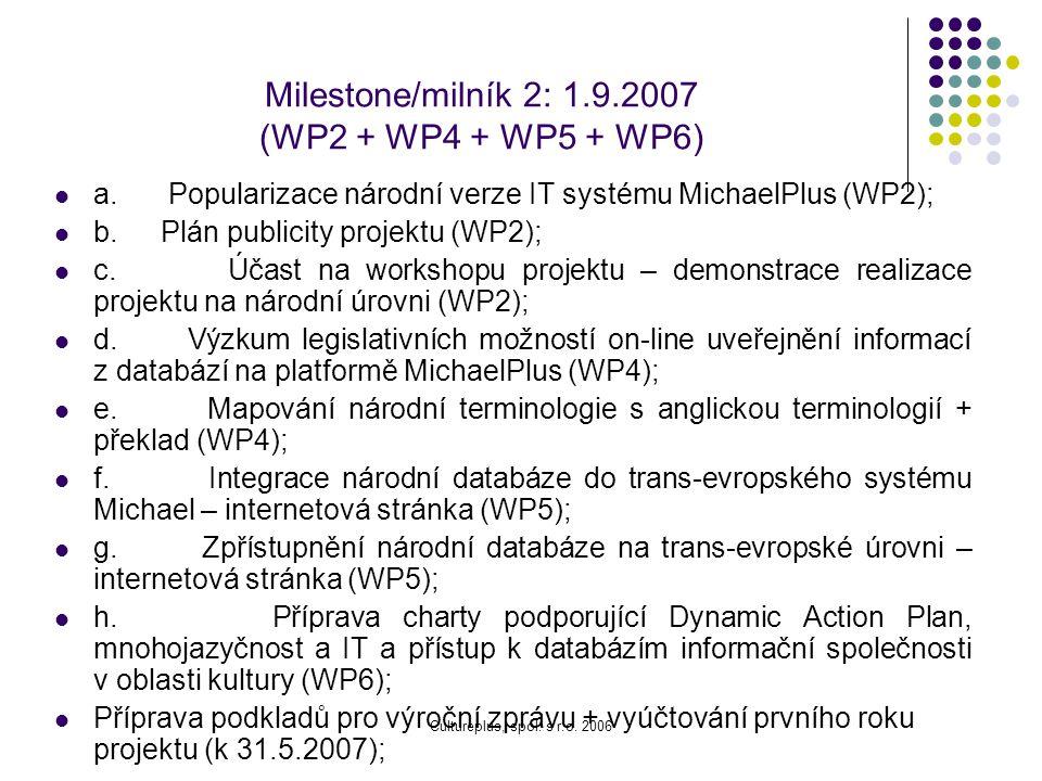 Milestone/milník 2: 1.9.2007 (WP2 + WP4 + WP5 + WP6)