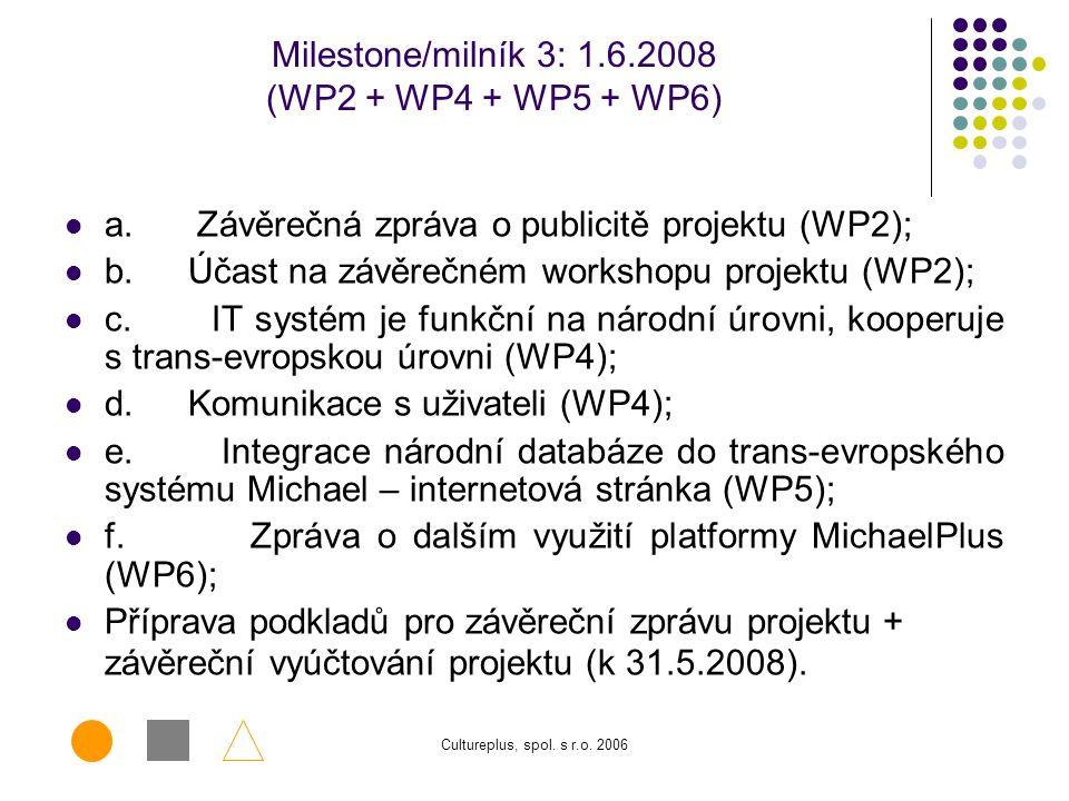 Milestone/milník 3: 1.6.2008 (WP2 + WP4 + WP5 + WP6)