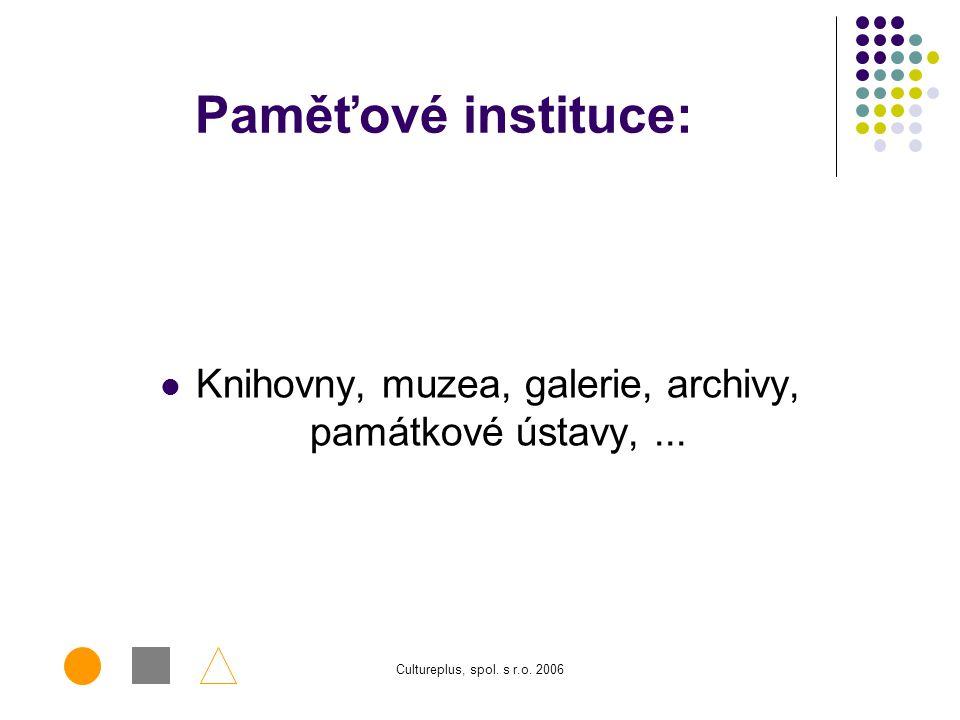 Knihovny, muzea, galerie, archivy, památkové ústavy, ...