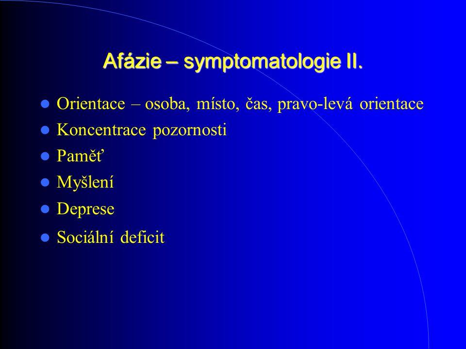 Afázie – symptomatologie II.