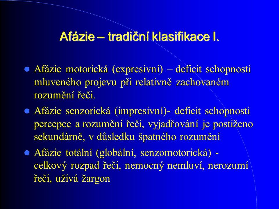 Afázie – tradiční klasifikace I.