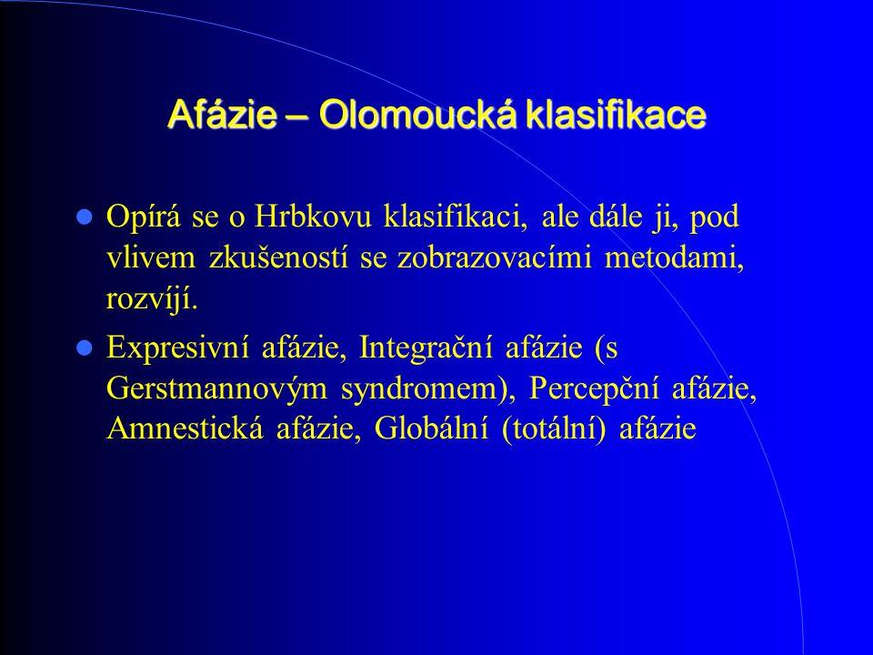 Afázie – Olomoucká klasifikace