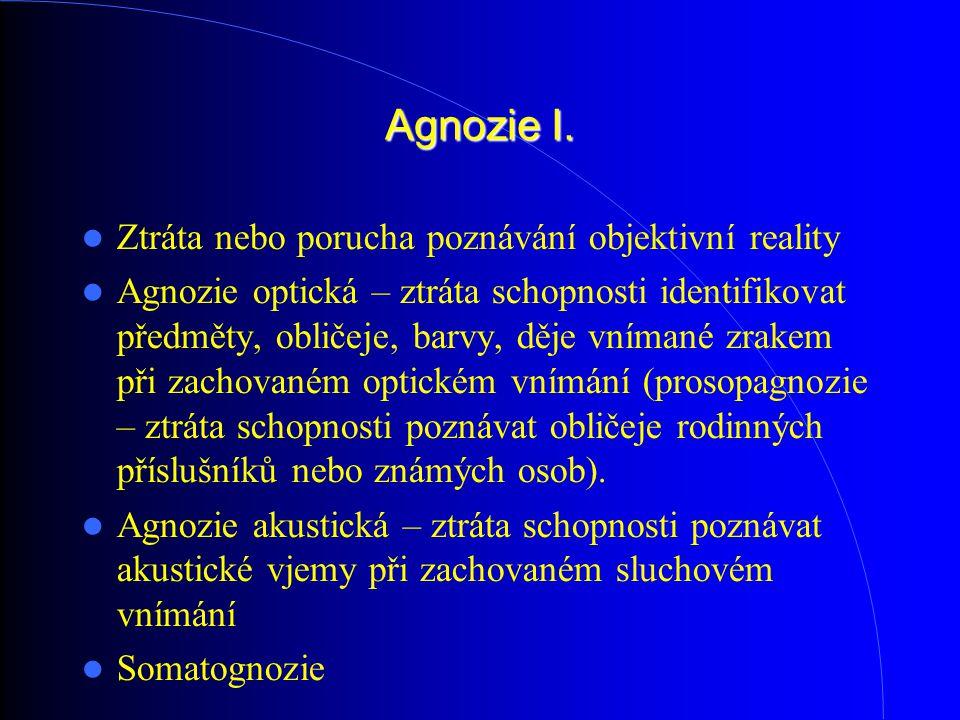 Agnozie I. Ztráta nebo porucha poznávání objektivní reality